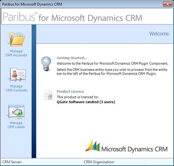 Processing Duplicate Records in Microsoft Dynamics CRM Paribus Discovery for Microsoft Dynamics CRM Plug-in Main Menu Once the Paribus Discovery for Microsoft Dynamics CRM Component plug-in has