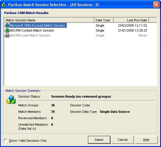 Processing Duplicate Records in Microsoft Dynamics CRM Figure 25 - Paribus Match Session Selection Dialog Select the Paribus Match Session that contains the match results for the merge operation you