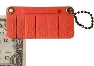 201059 $8.00 Click Pocket Money Brailler Fits on your key chain. Simply insert edge of bill and squeeze.