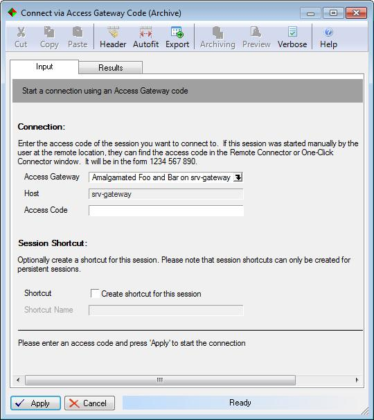 Double-click on the Connect with Code option; the Connect via Access Gateway Code window