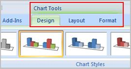 Page 4 Chart Tools Once you insert a chart, a new set of Chart Tools, arranged into 3 tabs, will appear above the Ribbon. These are only visible when the chart is selected.