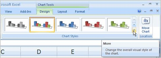 typing to add your own text. Page 5 To Change Chart Style: Select the Design tab. Locate the Chart Style group.