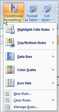 Click the Conditional Formatting command. A menu will appear with your formatting options.