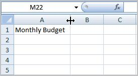Left-click the mouse and drag the cursor to the right to increase the column width or