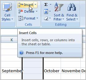 Make sure that you select the entire column to the right of where you want the new column to appear and not just the cell.