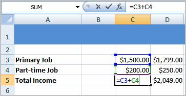 To Create a Simple Formula that Adds the Contents of Two Cells: Click the cell where the answer will appear (C5, for example). Type the equal sign (=) to let Excel know a formula is being defined.
