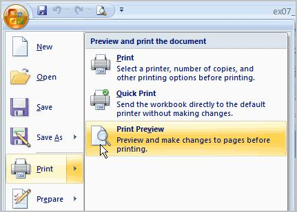 Click the Close Print Preview button to return to the Normal View. To make previewing your spreadsheet easier, add the Print Preview command to the Quick Access toolbar.