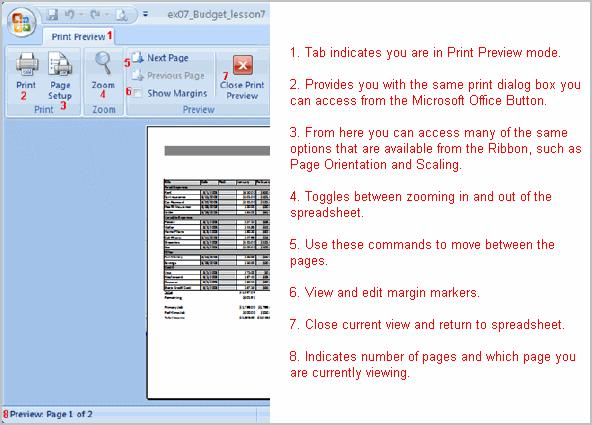 To Modify Margins, Column Width, or Row Height While in Print Preview: Click the Print Preview command on
