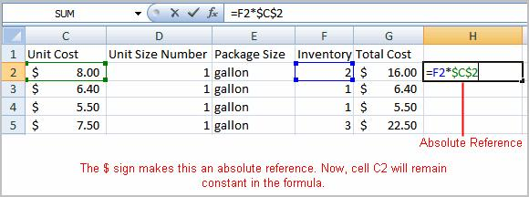 To Create an Absolute Reference: Select the cell where you wish to write the formula (in this example, H2) Type the equal sign (=) to let Excel know a formula is being defined.