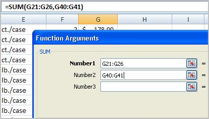 Notice that both arguments appear in the function in cell G44 and the formula bar when G44 is selected.