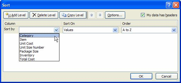 Click the drop-down arrow in the Column Sort by field, and choose one of the options. In this example, Category.