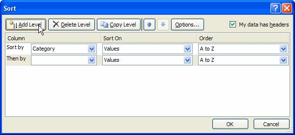 Select an option in the Column Then by field. In this example, we chose Unit Cost. Choose what to sort on. In this example, we'll leave the default as Value. Choose how to order the results.