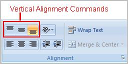 Select a cell or range of cells Click on either the Align Left, Center or Align Right commands on the Home tab. The text or numbers in the cell(s) take on the selected alignment treatment.