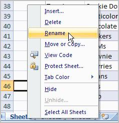 Right-click the sheet tab to select it. Choose Rename from the menu that appears. The text is highlighted by a black box. Type a new name for the worksheet. Click off the tab.