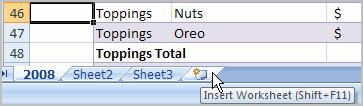 To Insert a New Worksheet: Left-click the Insert Worksheet icon. A new sheet will appear.