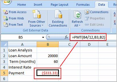 just divided this $20,000 into 60 monthly payments, you would pay $333.33 a month. The What-If Analysis tool will allow you to easily calculate the interest rate. Where Did the Formula Come From?