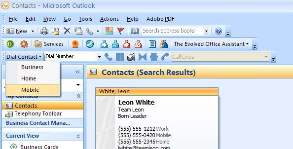 Dial from Contact List With the Evolved Assistant you can dial the home, business, or mobile number of any contact directly within Outlook. 1. Click Contact in the folder list. 2.