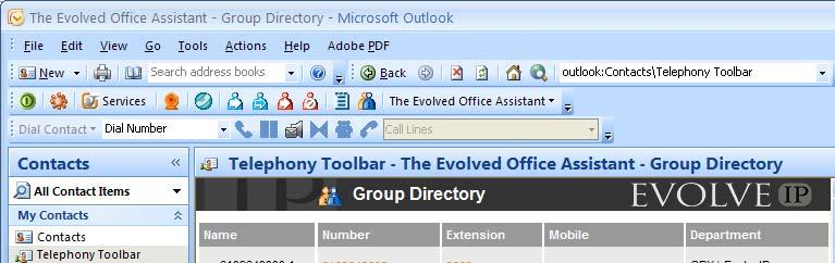 Dial from Group Directory You can directly dial any number stored in your group directory that integrates the group contacts with Assistant. 1. Click Group Directory on the Assistant toolbar.