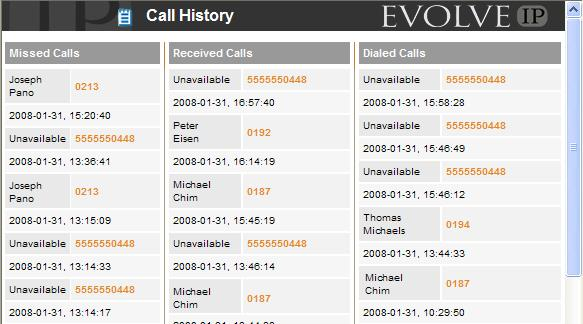 Dial from Call History Call History allows users to view their missed calls, received calls, and dialed calls. These are listed in reverse chronological order. 1.