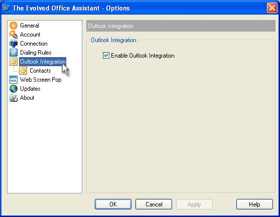 Outlook Integration The Outlook Integration page enables and disables the use of the Evolved Assistant with Microsoft Outlook.