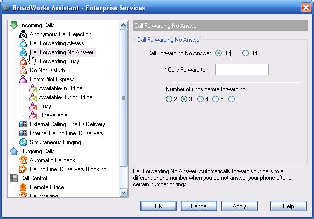 Figure 66 Services Dialog Call Forwarding No Answer Page To activate this service, click Call Forwarding No Answer on the toolbar. This is highlighted when turned on.