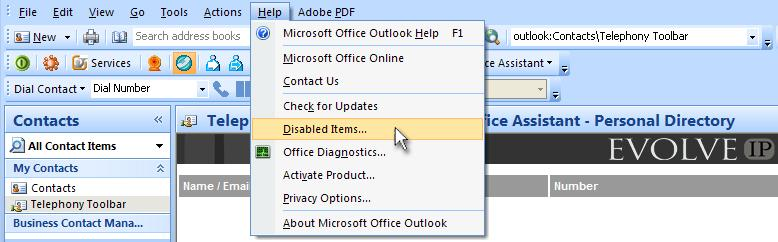 Figure 80 Outlook Toolbar Options If the Assistant entries are not listed, continue with the next step. Register Assistant within Outlook 1.