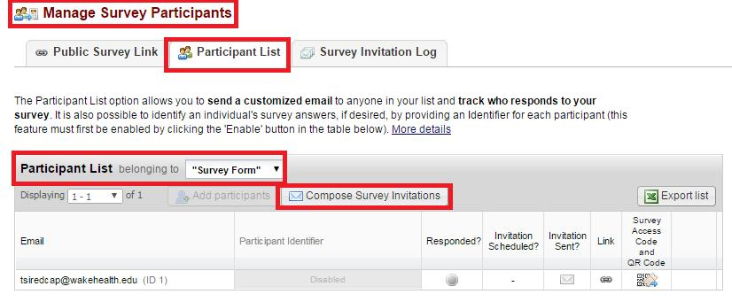 Step 5: When you are ready to send the survey(s) to the participants, navigate to the Participant List and select the Participant List belonging to from the drop down then click on Compose Survey