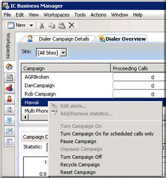 The Dialer overview displays important campaign statistics at the top of the screen. You can control campaign execution directly from this pane in the Dialer Overview.