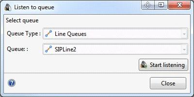 The Listen to Queue dialog appears when invoked using any of these methods.