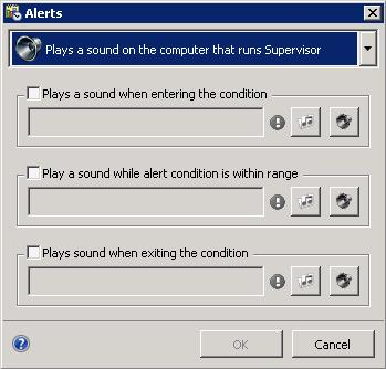 Use this dialog to play sounds when the value of the statistic enters the range of a condition, changes within the condition, or exits the range of a condition.