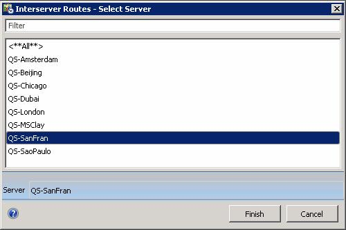 This dialog selects an CIC to display routes for when an Interserver Routes view is added. Filter box Selects a subset of server names in the list based on user input of a partial or full server name.