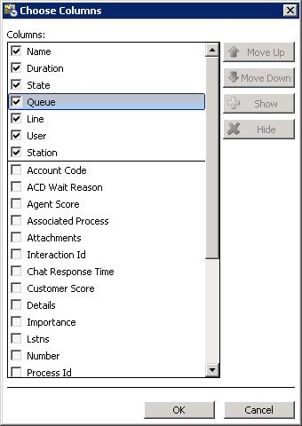 Use the Queue Columns Selection dialog to select queue columns to display in a view, and to optionally set their order of appearance in a view.