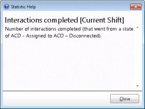 This dialog describes a statistic. To display help for a statistic: 1. Right-click the statistic to display a shortcut menu. 2. Select Help.