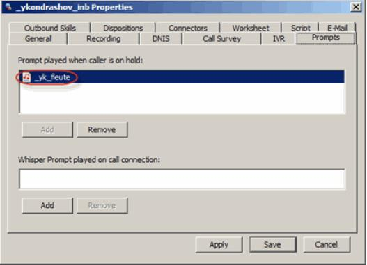 Configuring Autodial Agent Linkback Campaigns Removing the Prompt 1 In the Prompts tab, select the prompt to remove. 2 Click Remove. 3 Click Yes. 4 Click Apply or Save.