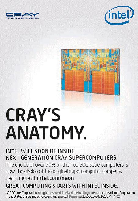Cray and Intel to Collaborate to Develop Future Supercomputing Technologies Announced on April 28, 2008.