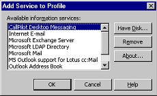 Chapter 3 Installing and configuring Unified Messaging 55 Manual Outlook 2000 Configuration The user can manually add CallPilot Desktop Messaging to any e-mail profile in Outlook 2000.