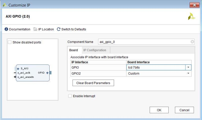 Appendix C: Using the Platform Board Flow for IP X-Ref Target - Figure C-5 Figure C-5: Board Interface Selected The use of the Vivado Design Suite platform board flow can let you quickly connect IP