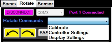 2 Stop All: This is the panic button to stop both the rotator and the focuser. This is the same when the ROTATE Tab is selected.
