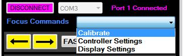 Command Window Functions Calibrate Calibrating is setting the zero position of the focuser or of the rotator.