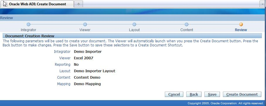 Click the Submit button to save the importer definition.