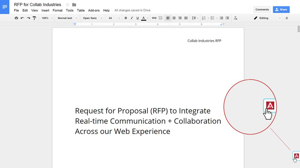 Contextual Collaboration in Google Drive When opened to a document,