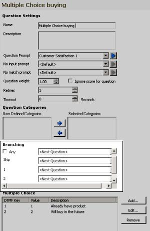 The Question Settings are displayed in the workspace, including the Branching options. 2.