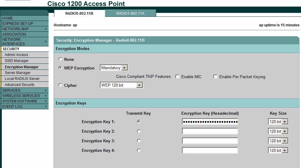 WEP keys can be entered in ASCII or hexadecimal on most equipment. Cisco Aironet equipment requires WEP keys to be entered in hexadecimal. 40-bit WEP keys are 10 hexadecimal characters long.
