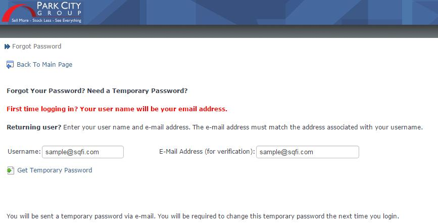 prompted. You will be them prompted to change your password.