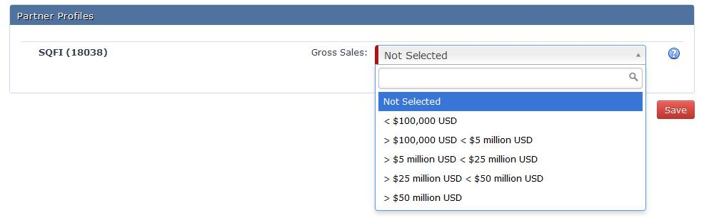 You will be presented with a screen to add your new facility information. Once you enter all the facility information, use the dropdown to select you gross sales and click Save.