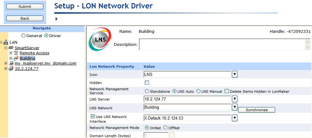 h. The Use LNS Network Interface property check box is selected and the network interface used for communication between the LNS Server and the network is specified automatically.