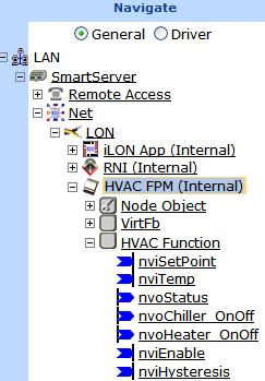 Note: The FPM device will be highlighted orange in the SmartServer tree, indicating that it not commissioned; however, you do not need to commission the FPM device in order for it to run its