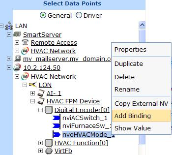 Connecting FPM Data Points with the LNS Tree You can create LONWORKS connections with the data points declared in your FPM application from the LNS tree. To do this, follow these steps: 1.