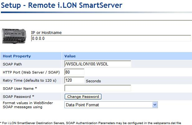 c. Configure the SOAP/HTTP properties of the SmartServer. See Chapter 3 of the i.lon SmartServer User s Guide for more information on configuring these properties. d. Click Submit. 2.