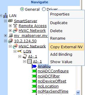c. In the tree of the target SmartServer, right-click the any object in the